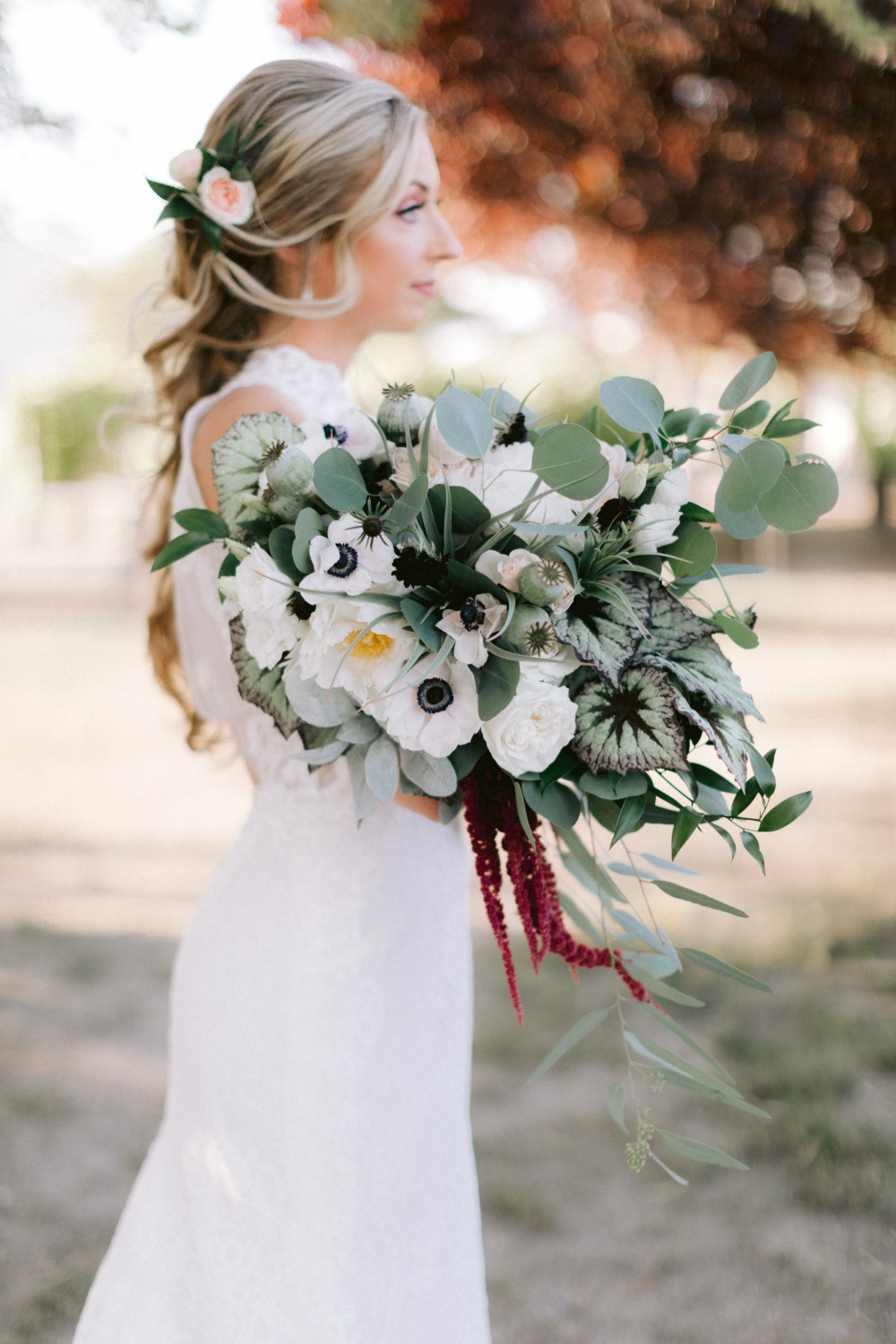 greenery wedding bouquet with white florals
