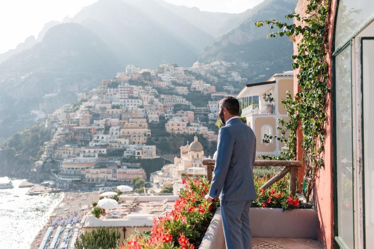 groom waiting to have his first look of bride at  Amalfi Coast elopement