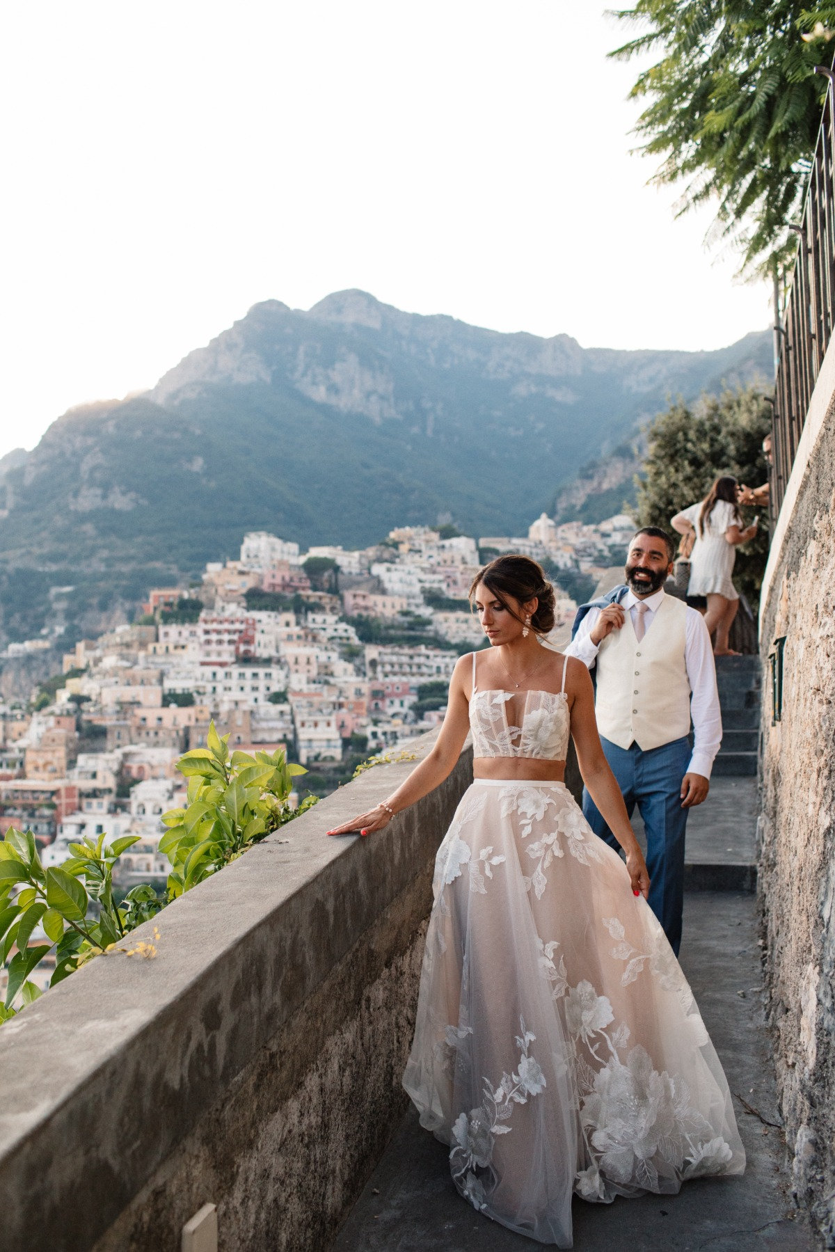 bride in two-piece Watters dress at Amalfi Coast elopement