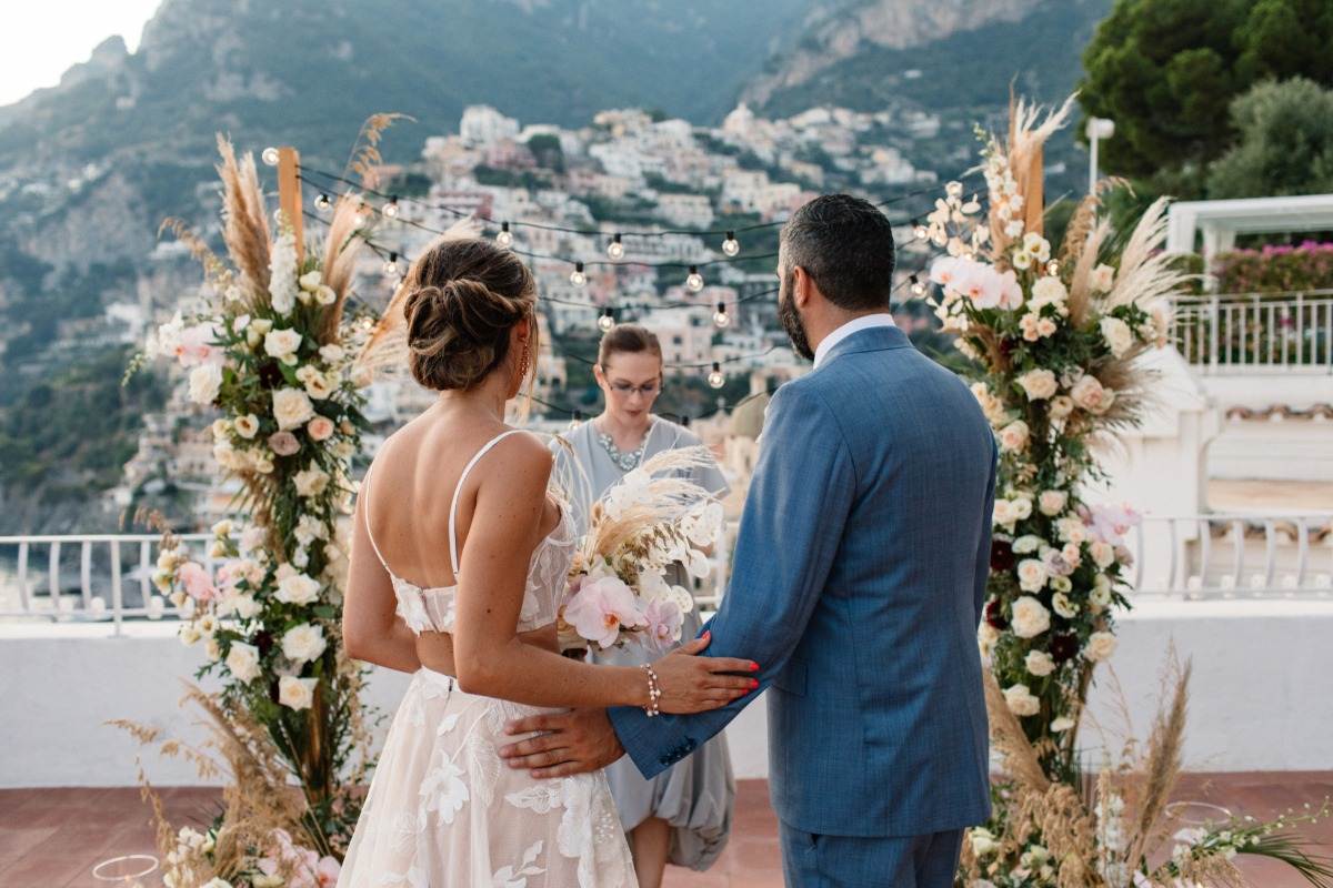 floral wedding background at Amalfi Coast elopement