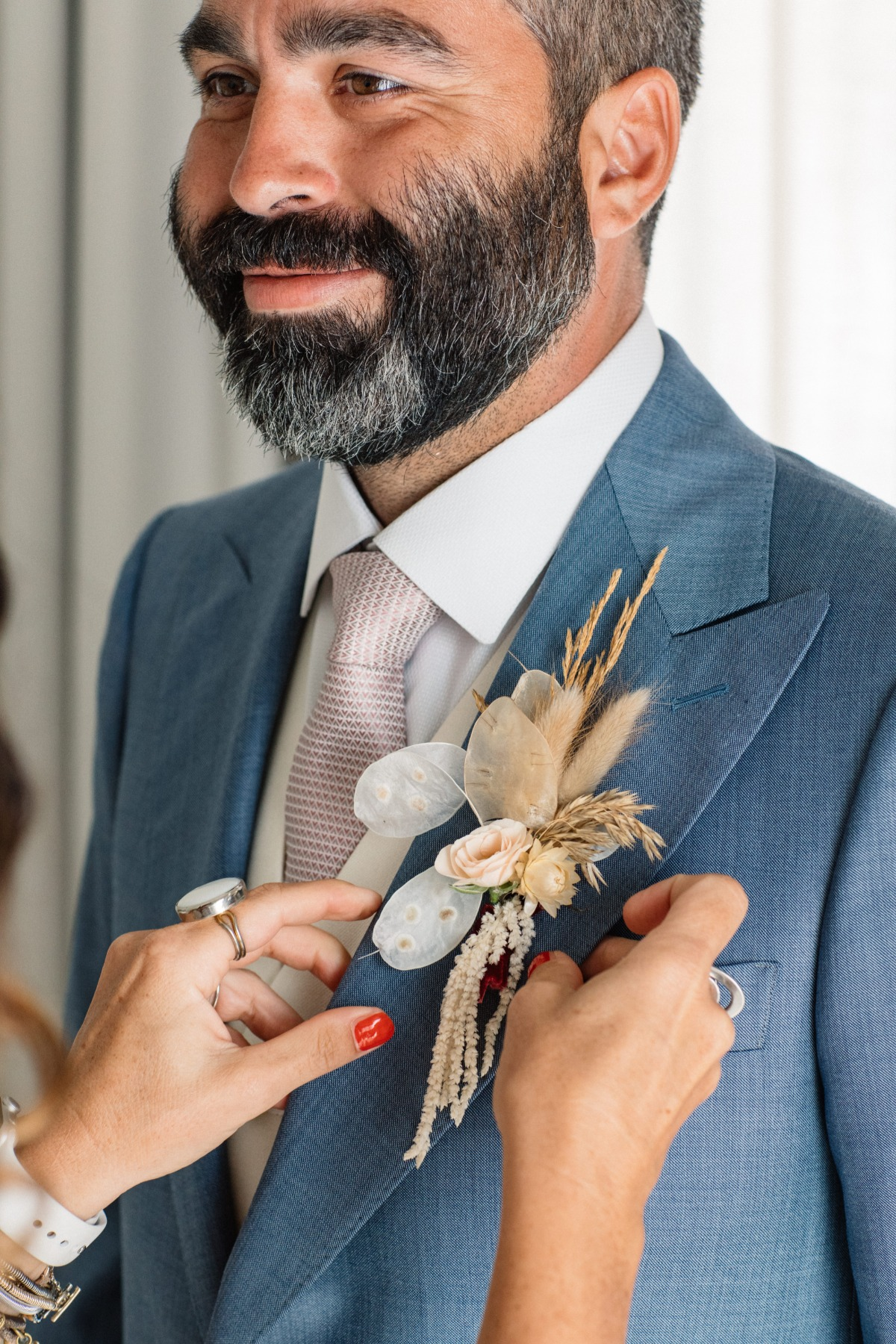dried floral wedding boutonnière