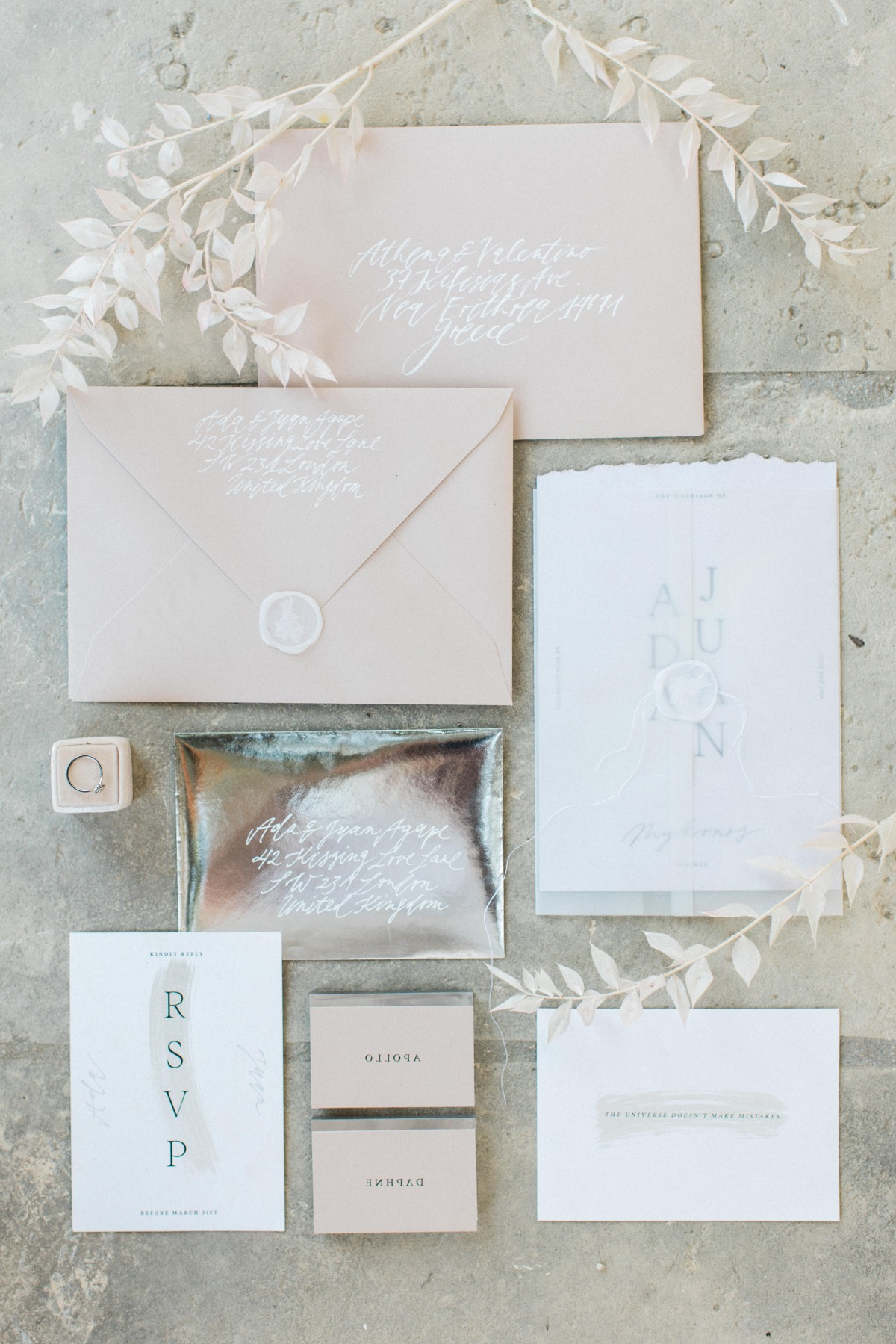 blush wedding stationery with white seal designed by  Studio Van Hart