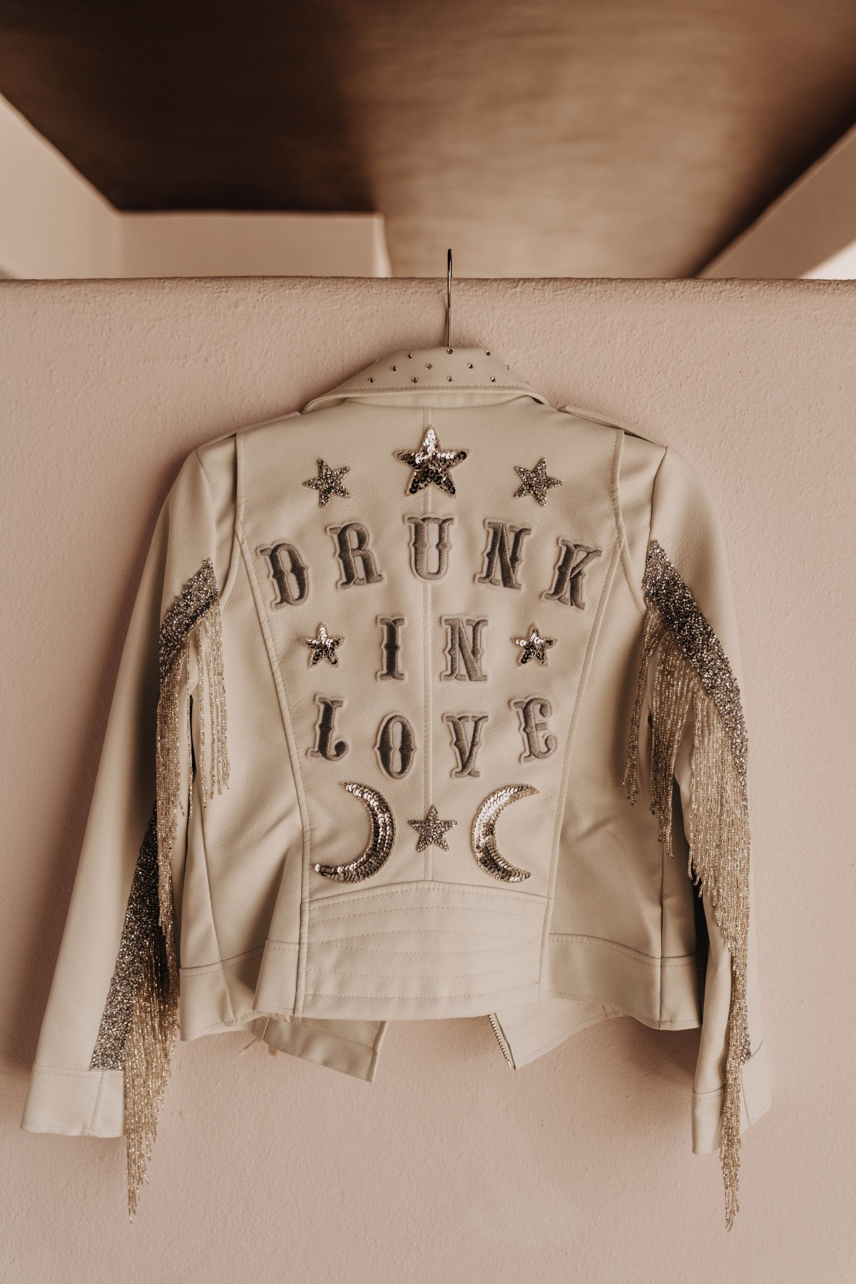Drunk in Love wedding jacket with silver fringe by Ally Jacqueline