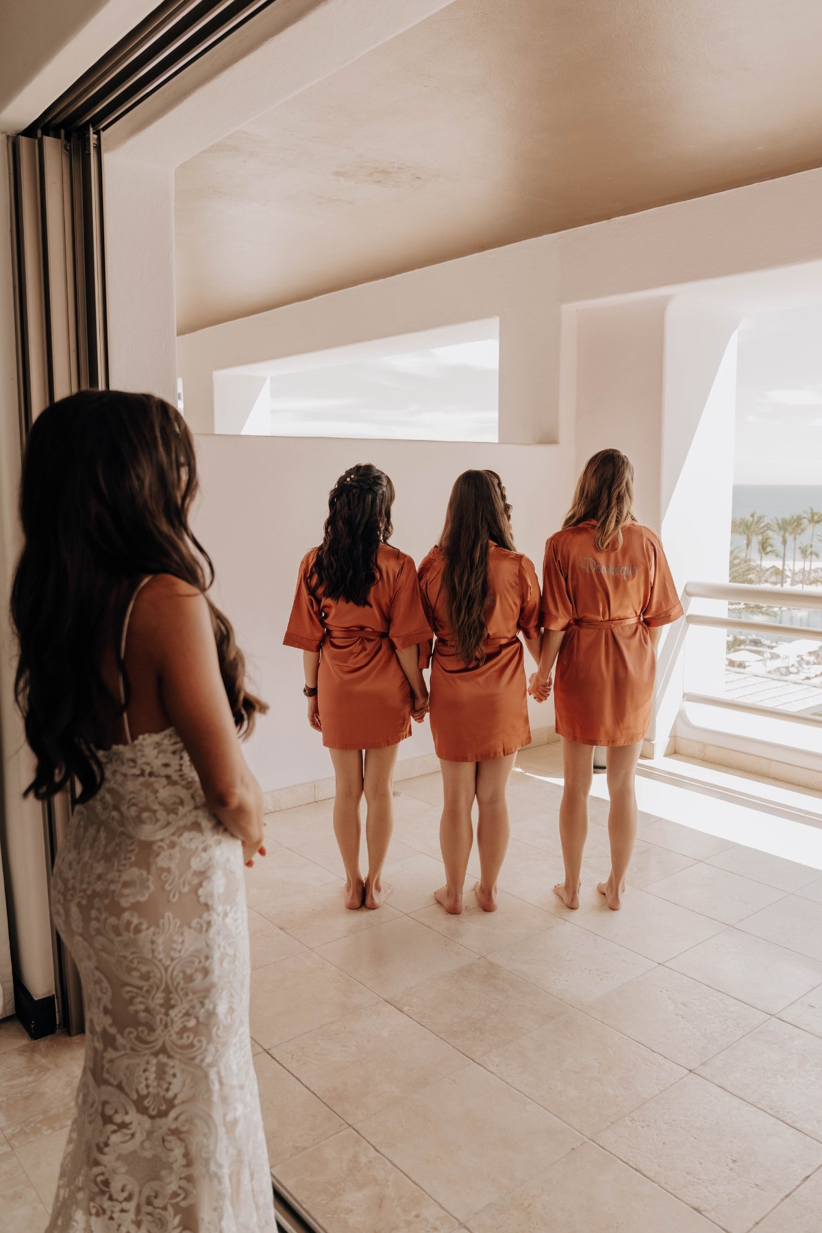 bridesmaids in terra cotta personalized bridesmaid robes