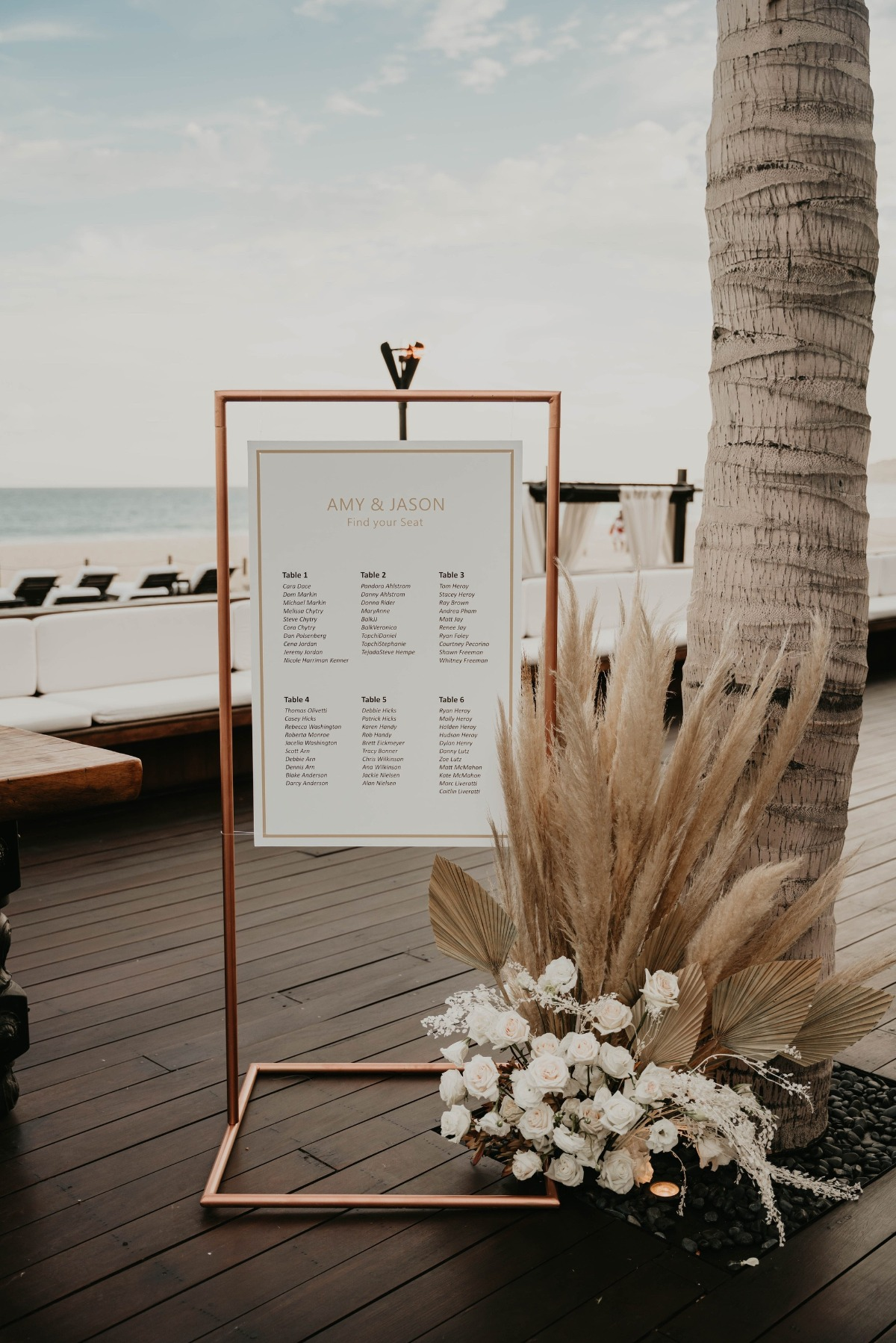seating chart sign using a copper frame