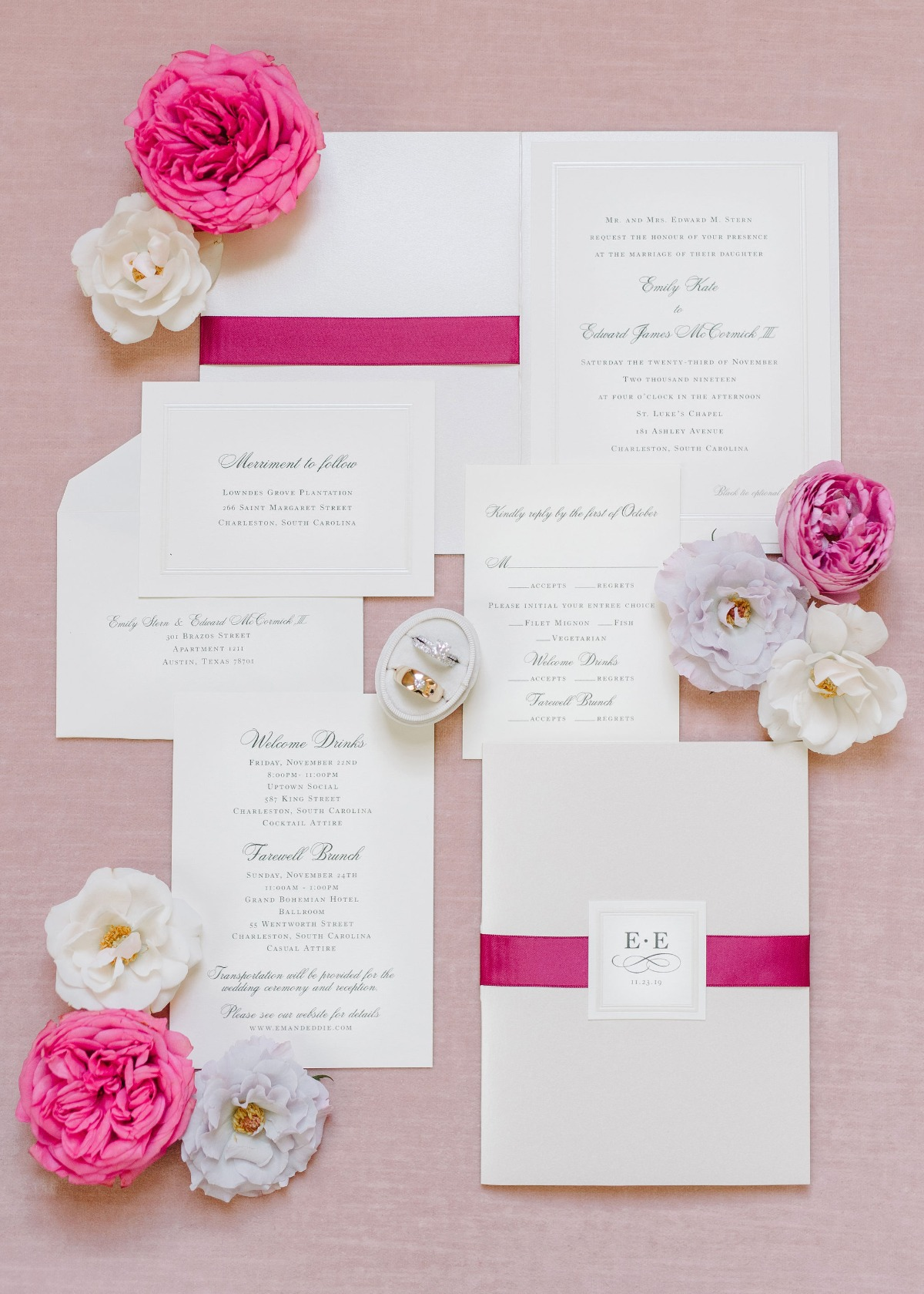 classic wedding invitations designed by J. Lily Design