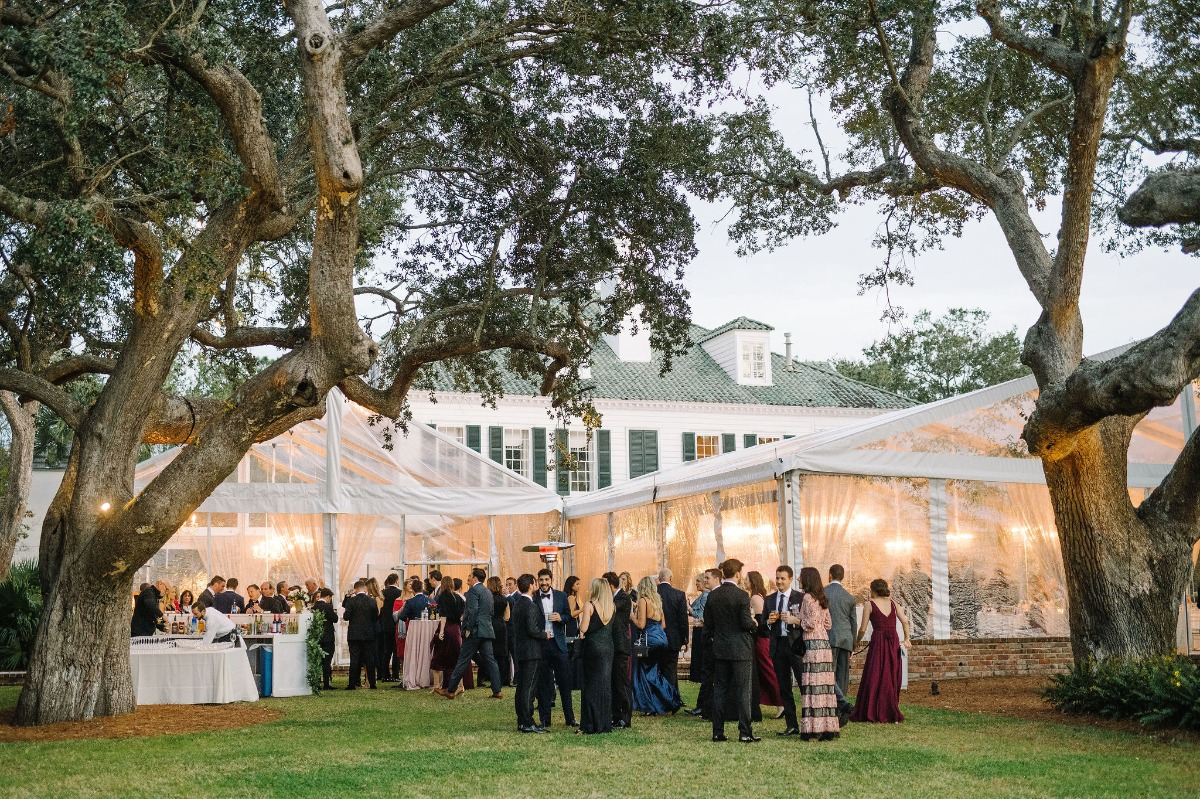 outdoor wedding tent reception at Lowndes Grove
