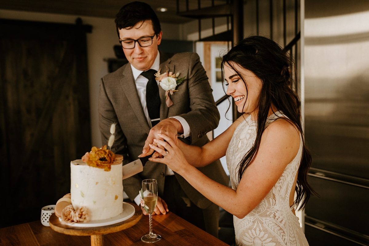 cutting of the cake for elopement wedding ceremony