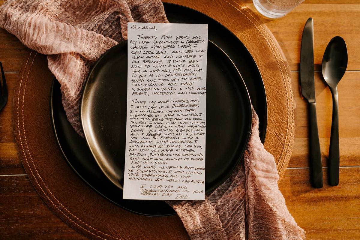 letters to bride and groom at their elopement