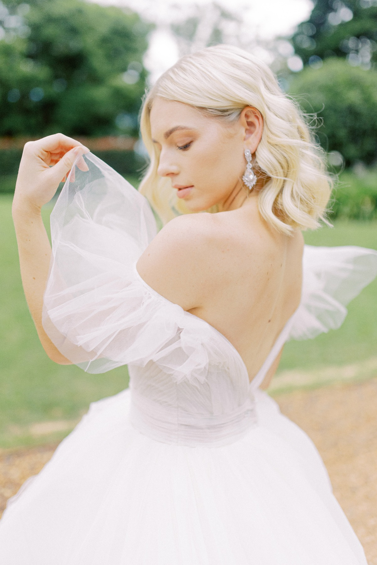White Lily Couture wedding gown with pretty sleeves