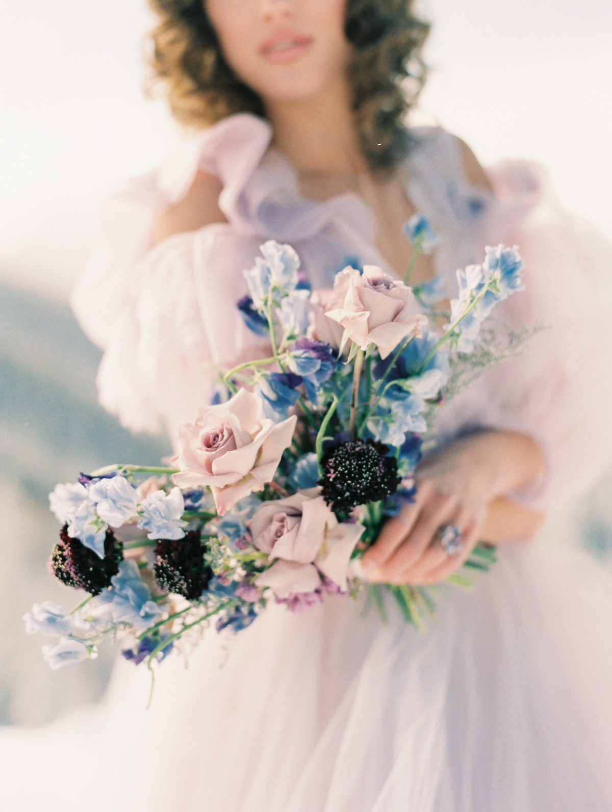 pastel purple wedding bouquet by State and Arrow florals