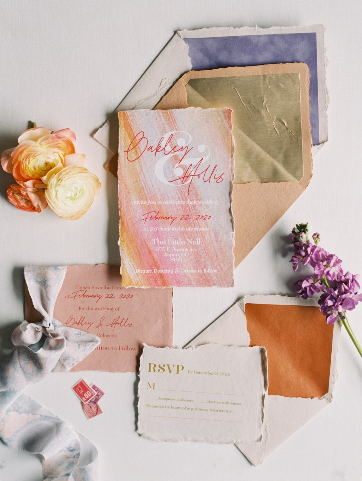 modern watercolor wedding invitations by A Good Day, Inc.