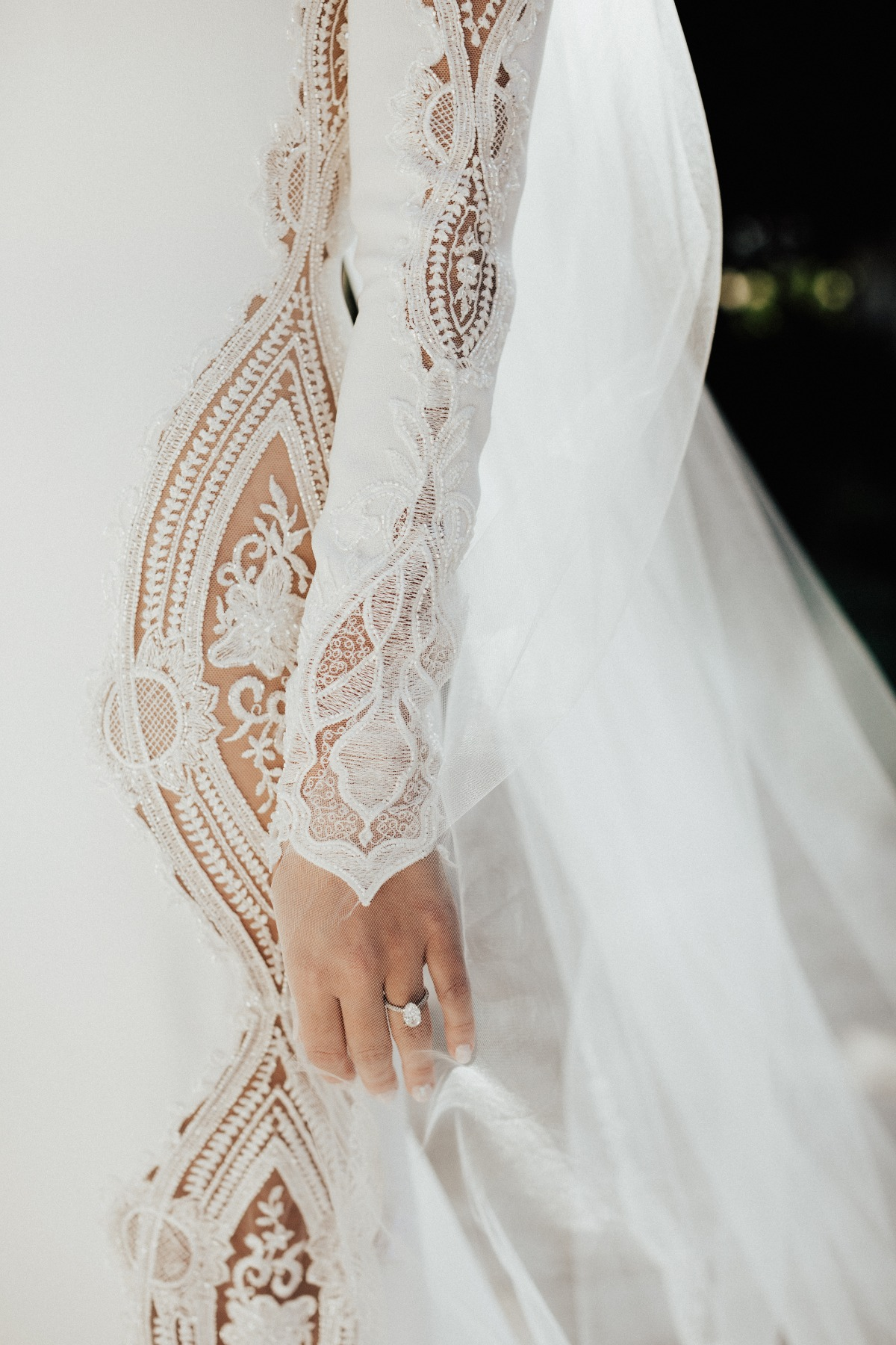 pronovias long sleeve white wedding gown