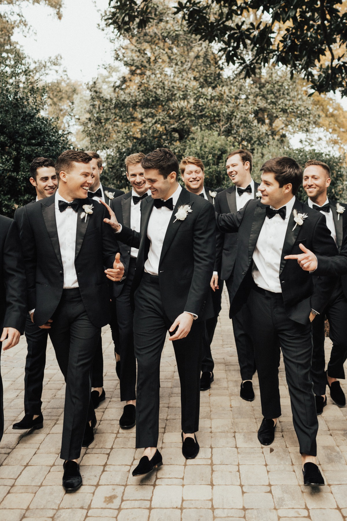 sock-less groomsmen in Ralph Lauren black tuxedos