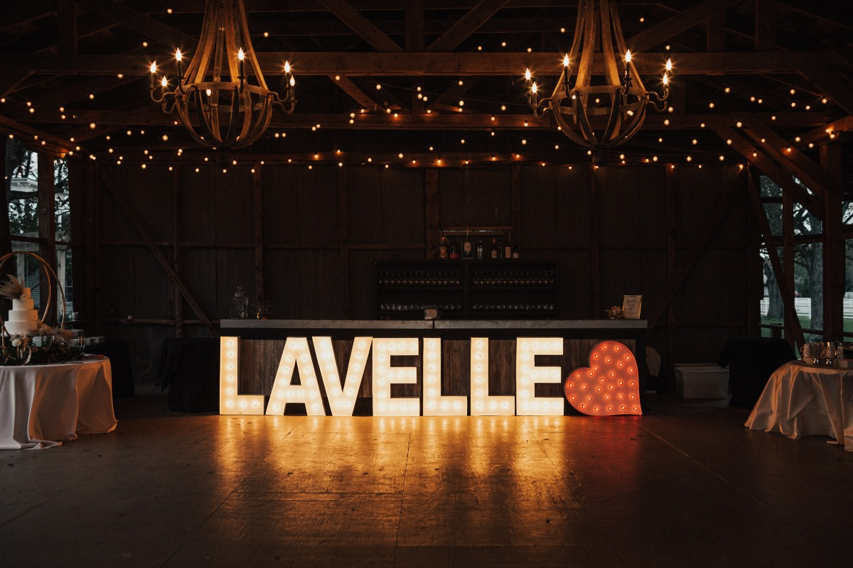 last name wedding light sign