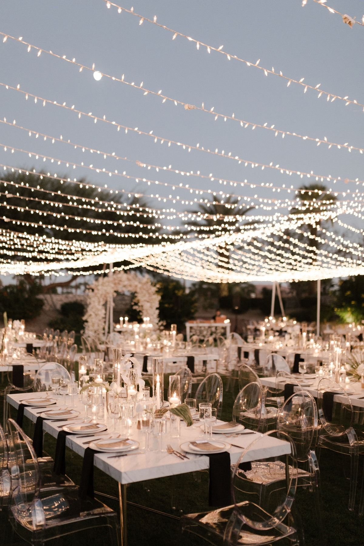 wedding lighting ideas and lucite chairs