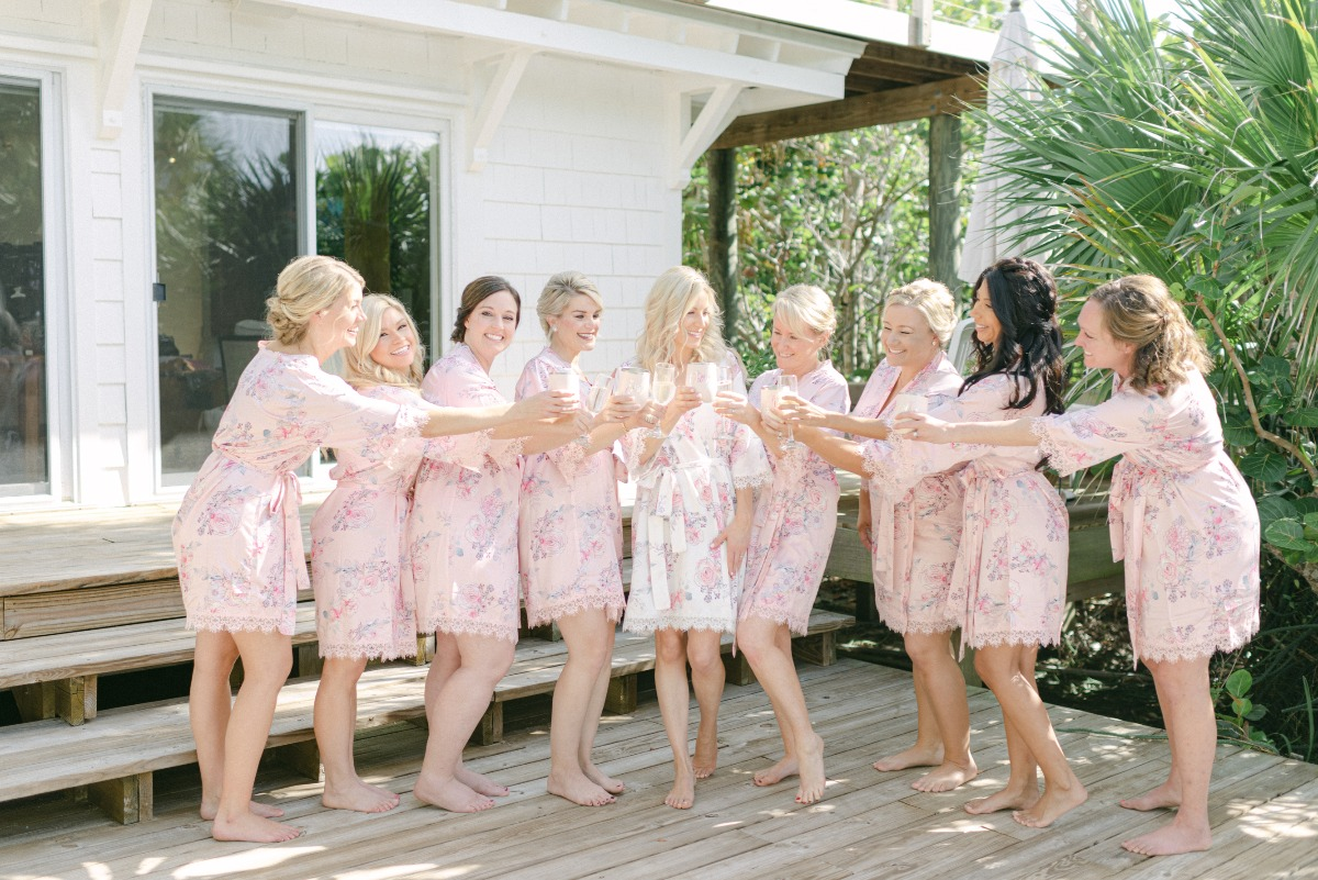 light pink with lace trim bridesmaid robes