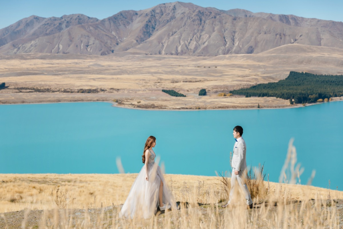 Lake Pukaki engagement session captured by OneThreeOneFour