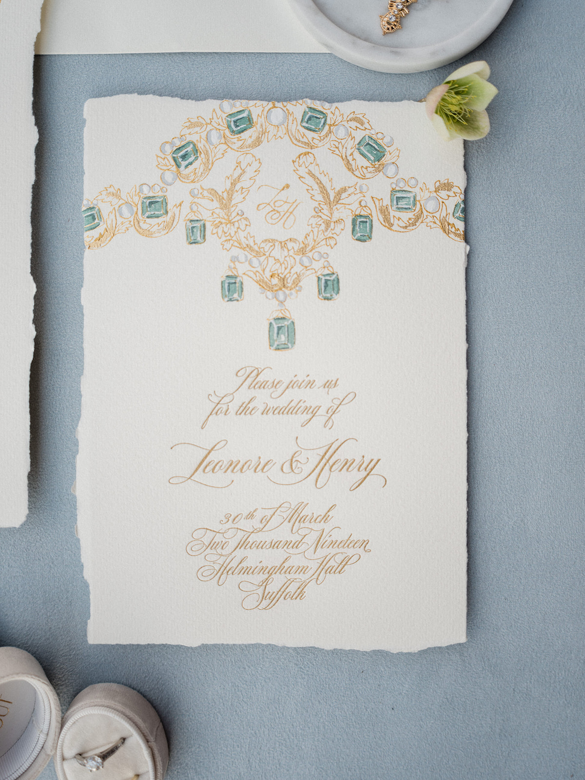 Royal wedding stationery designed by Carissimo Letterpress