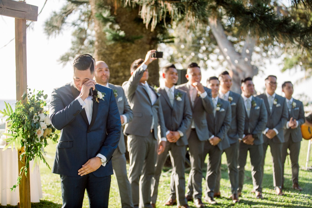Groom first seeing his Bride walk down the aisle
