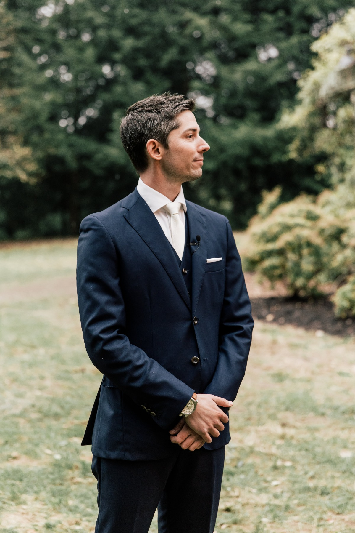 navy blue wedding suit with white shirt