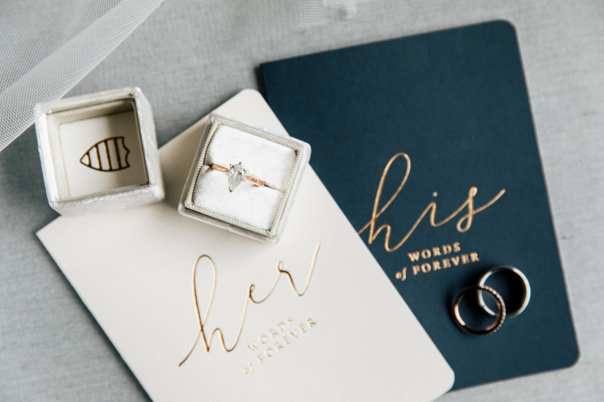 his and her wedding vow flat lay books