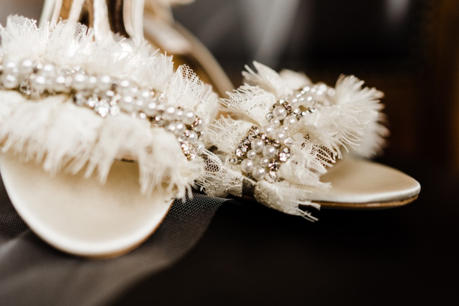 white wedding shoes with pearls and diamonds