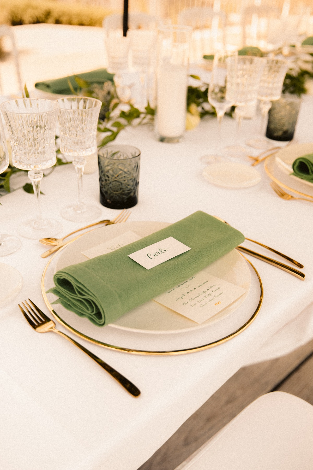 green and white outdoor wedding reception