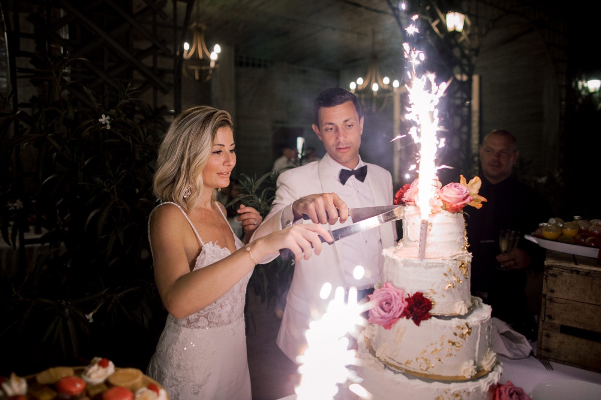 wedding cake with firewors