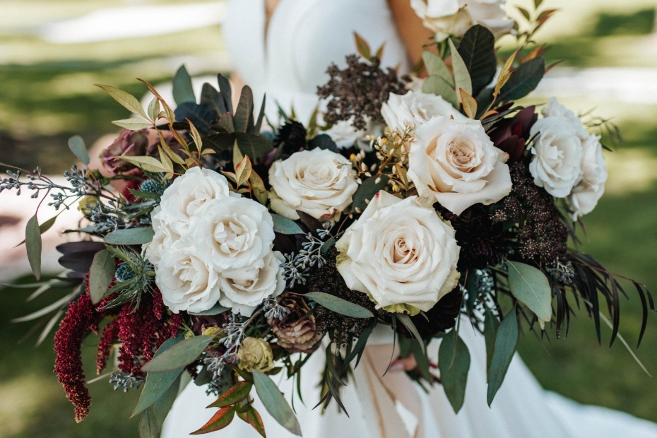white and eucalyptus wedding bouquet