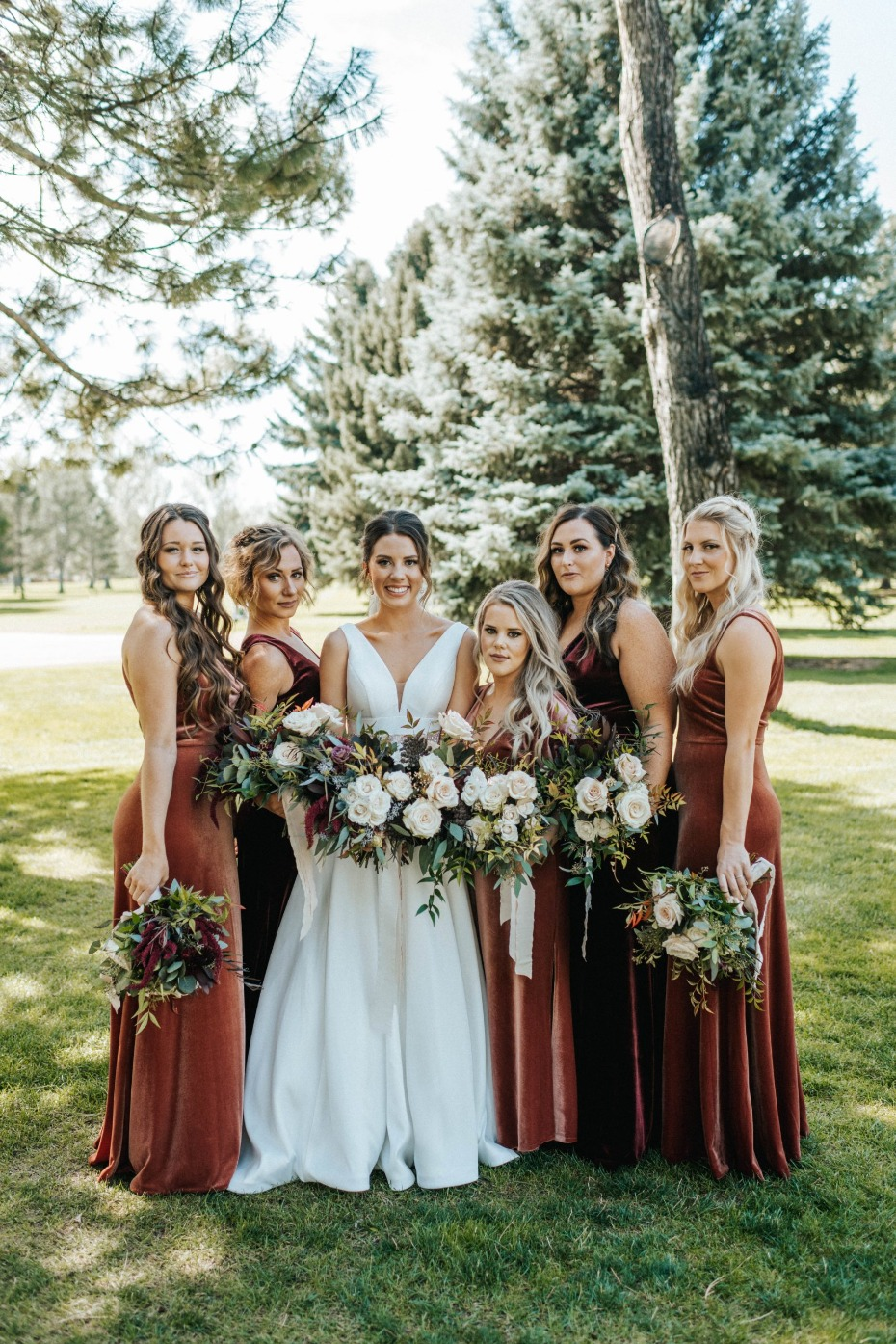 Jenny Yoo velvet bridesmaid dresses