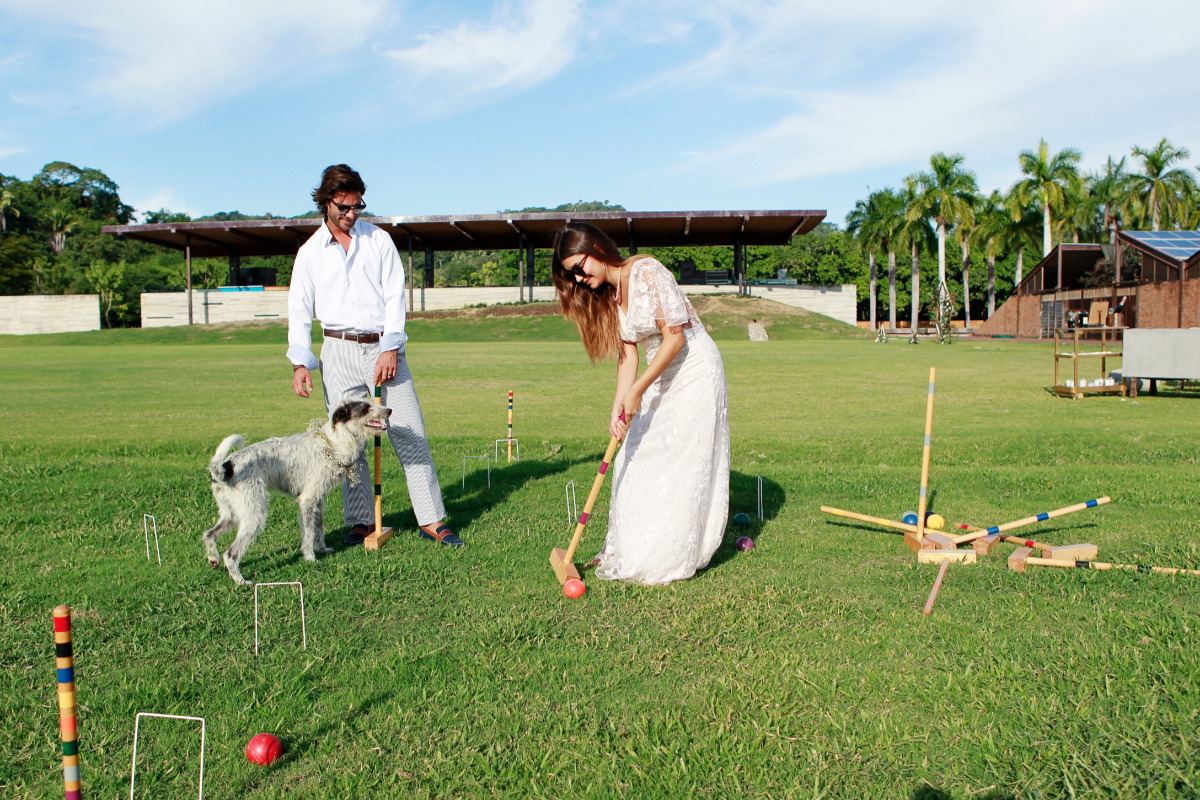 playing croquet on the polo field