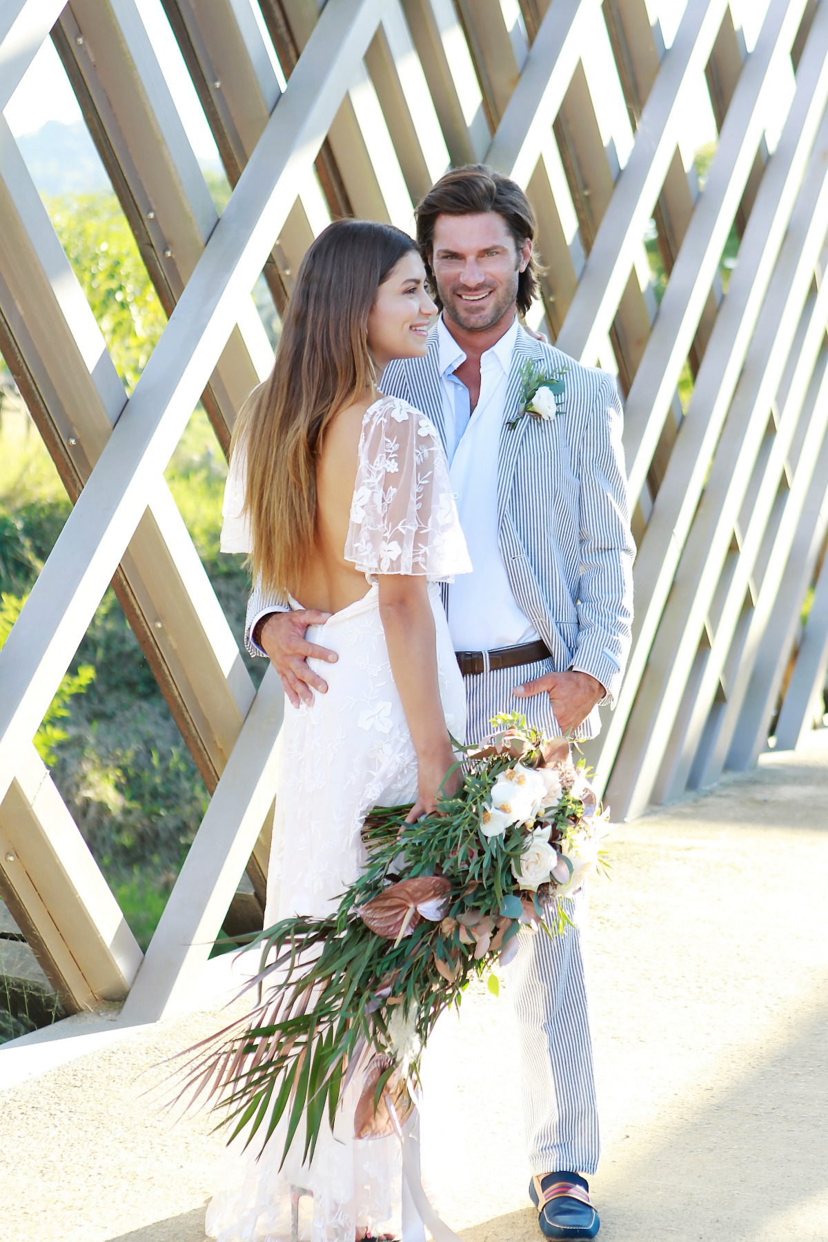 Preppy bride and groom wedding looks
