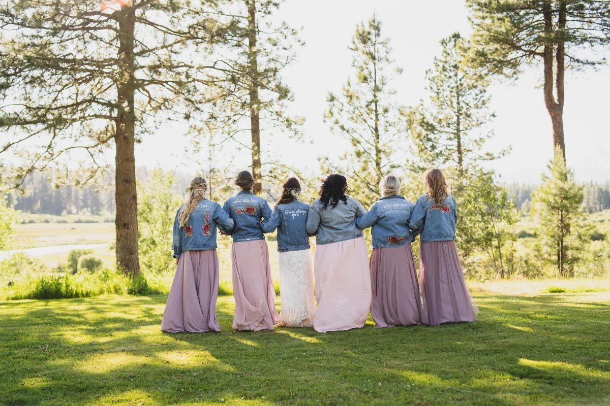 personalized bridesmaid jean jackets