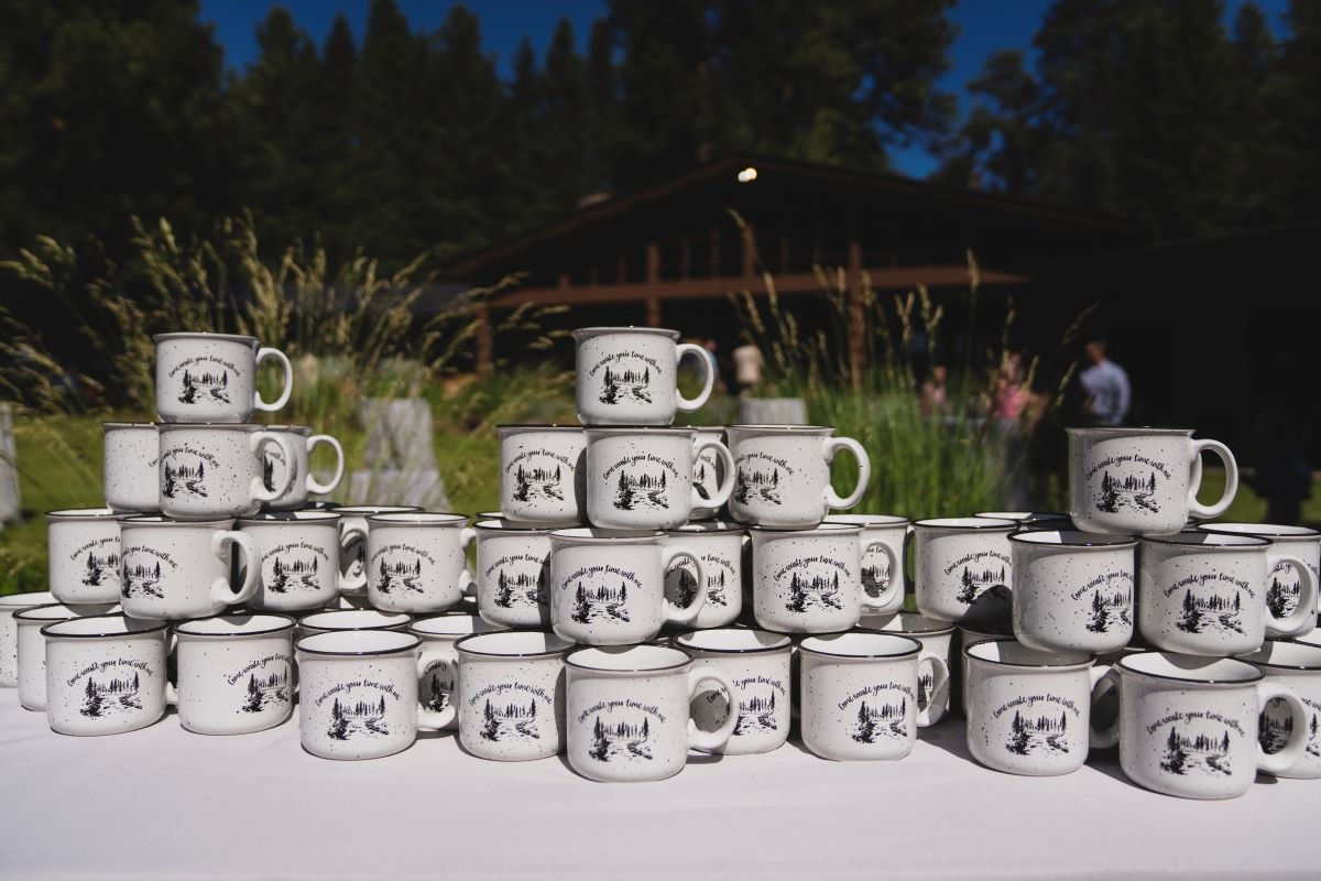 mountain coffee cups as wedding favors