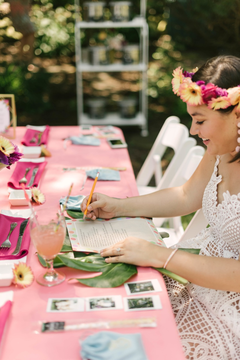 bride playing bridal shower games