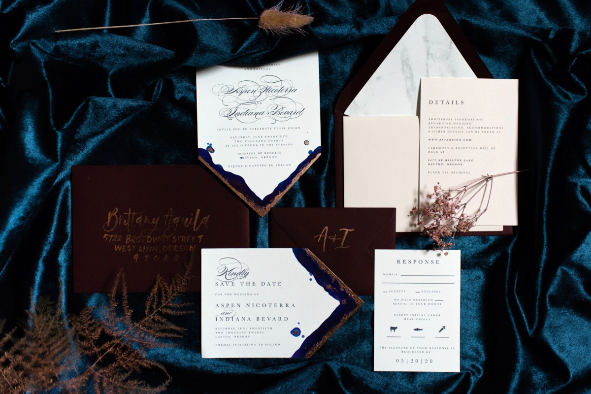 elegant wedding invitations by Letters and Dust