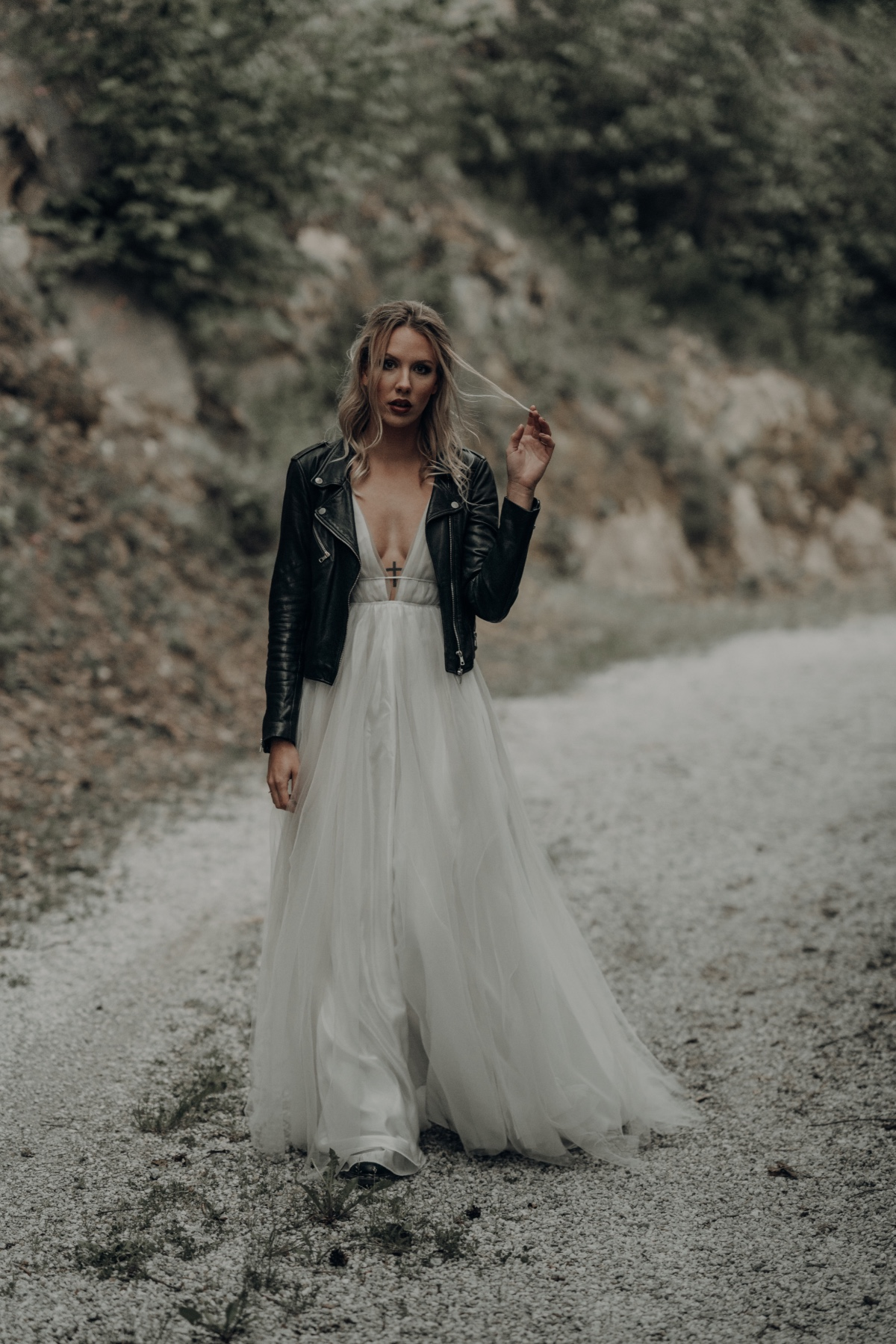 bridal dress paired with leather jacket