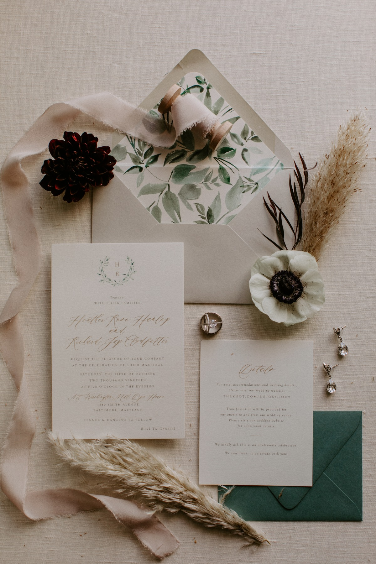 white and green wedding stationer