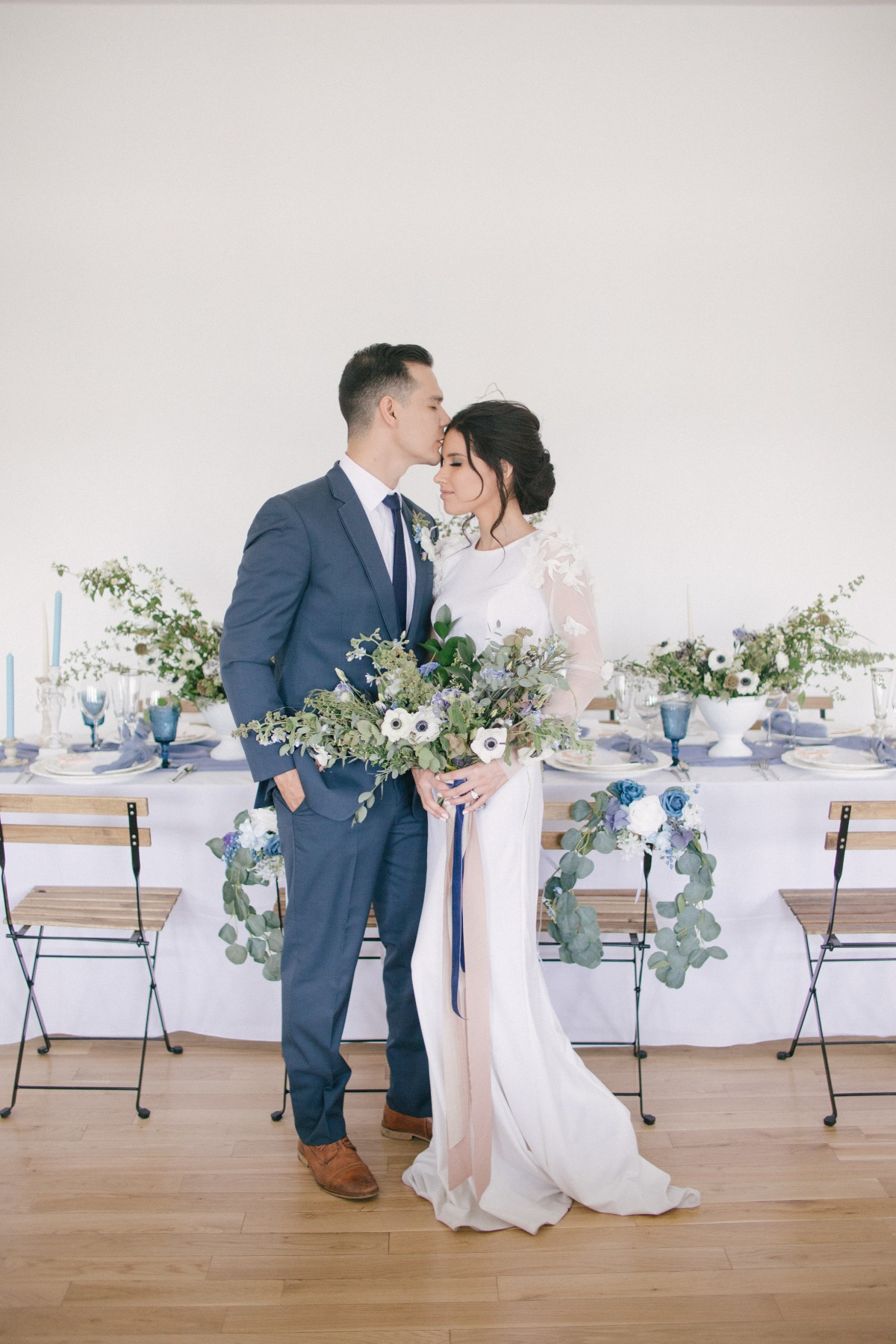 blue and green wedding reception