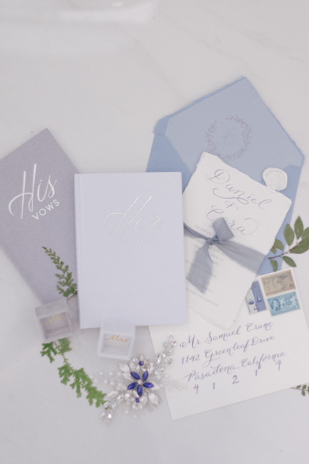 handmade blue wedding invitations