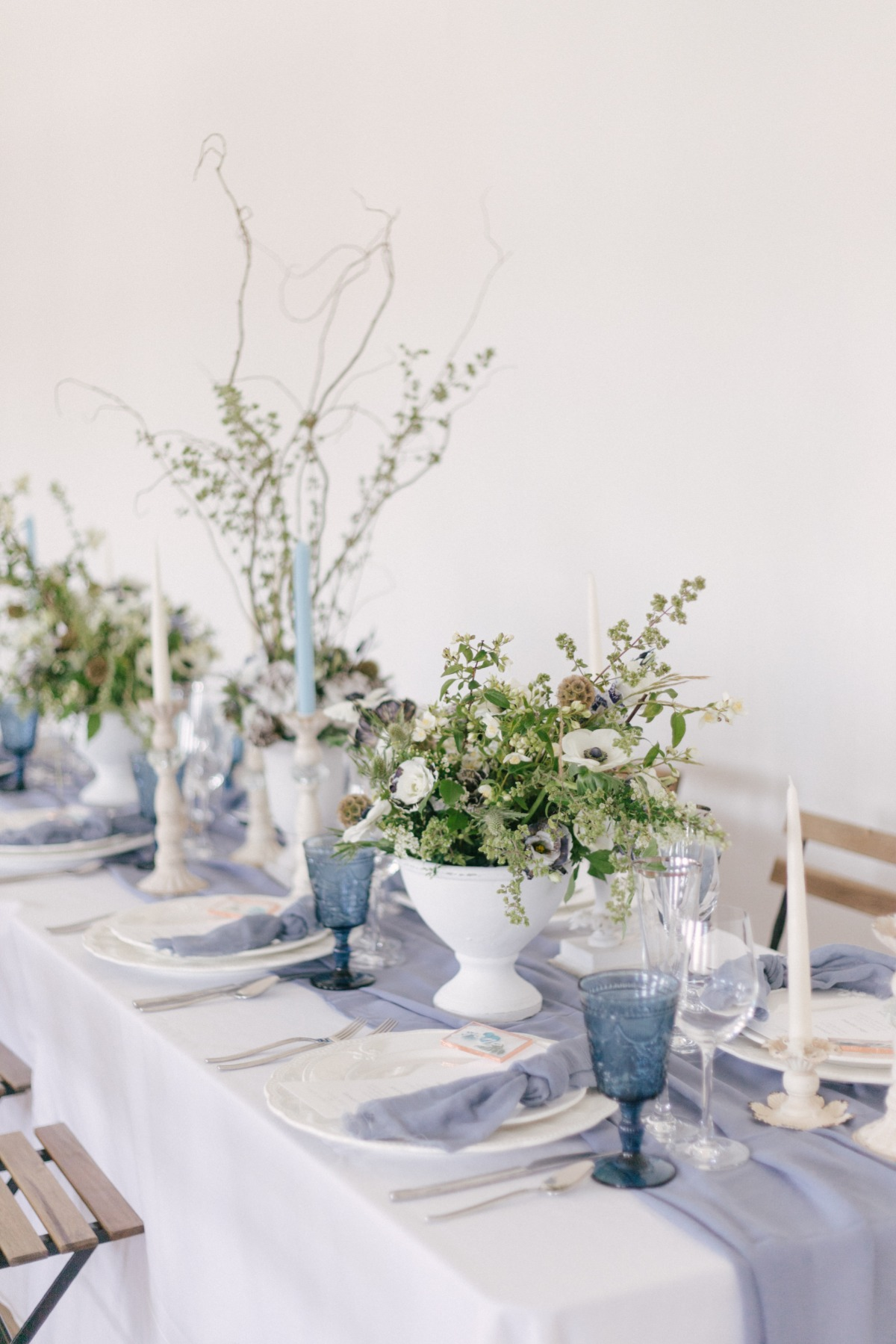 white, blue and green wedding decor