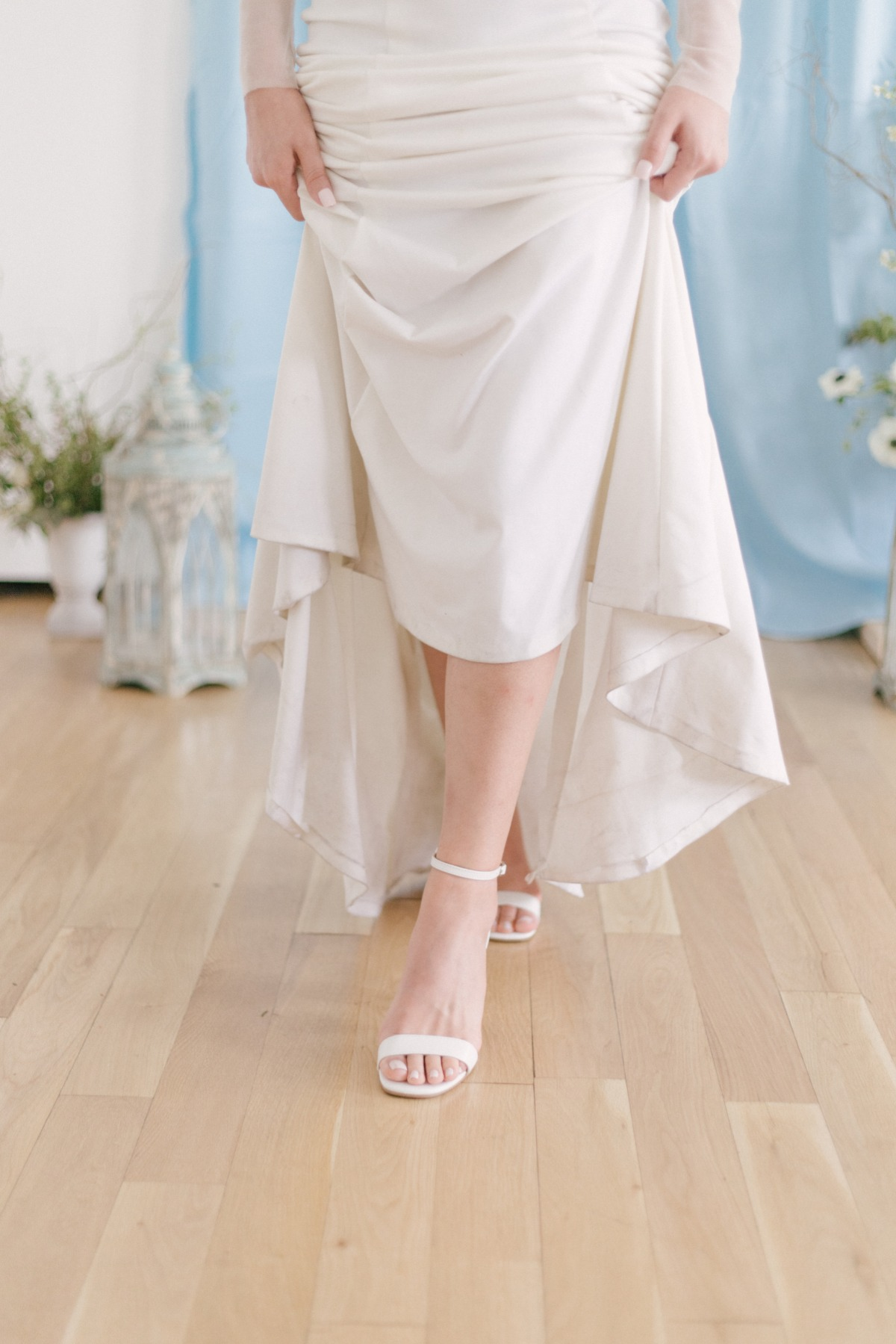 white strapy wedding shoes