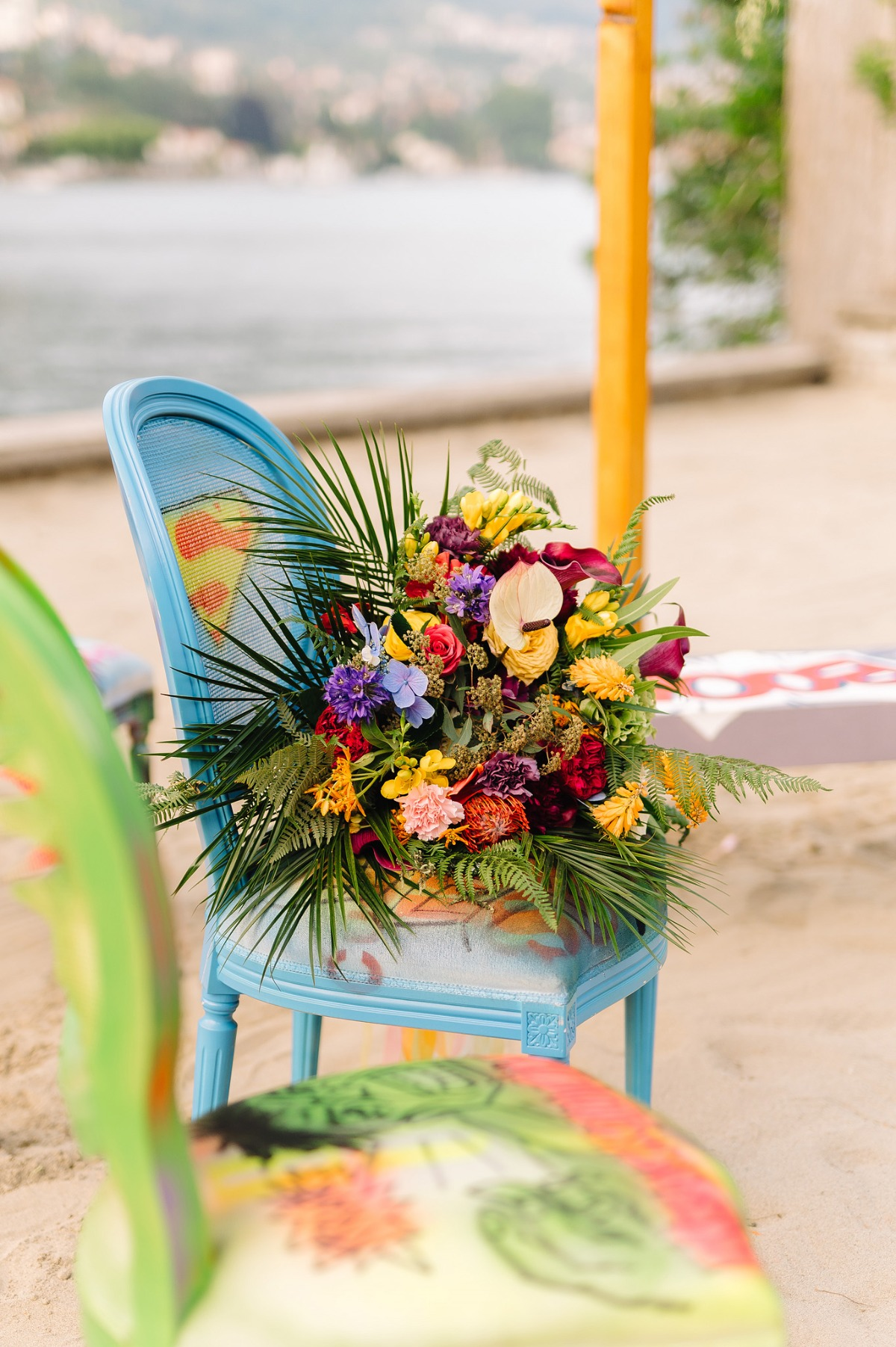 comic book inspired wedding ceremony with Marvel inspired chairs