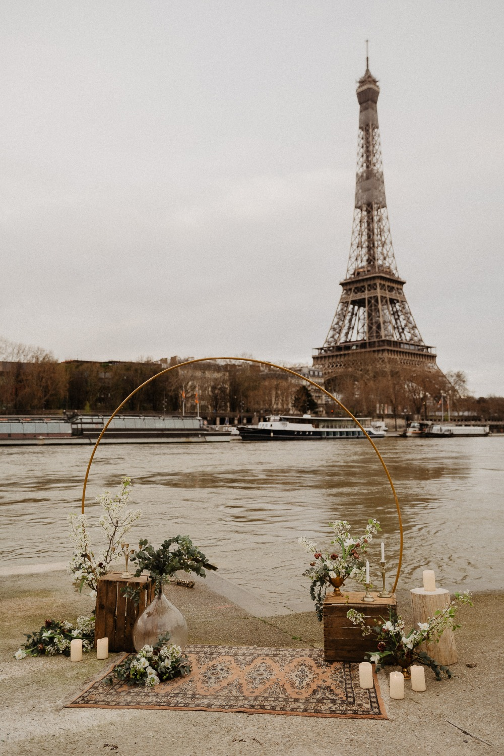 Elopement in France in front of the Seine River and The Eiffel Tower