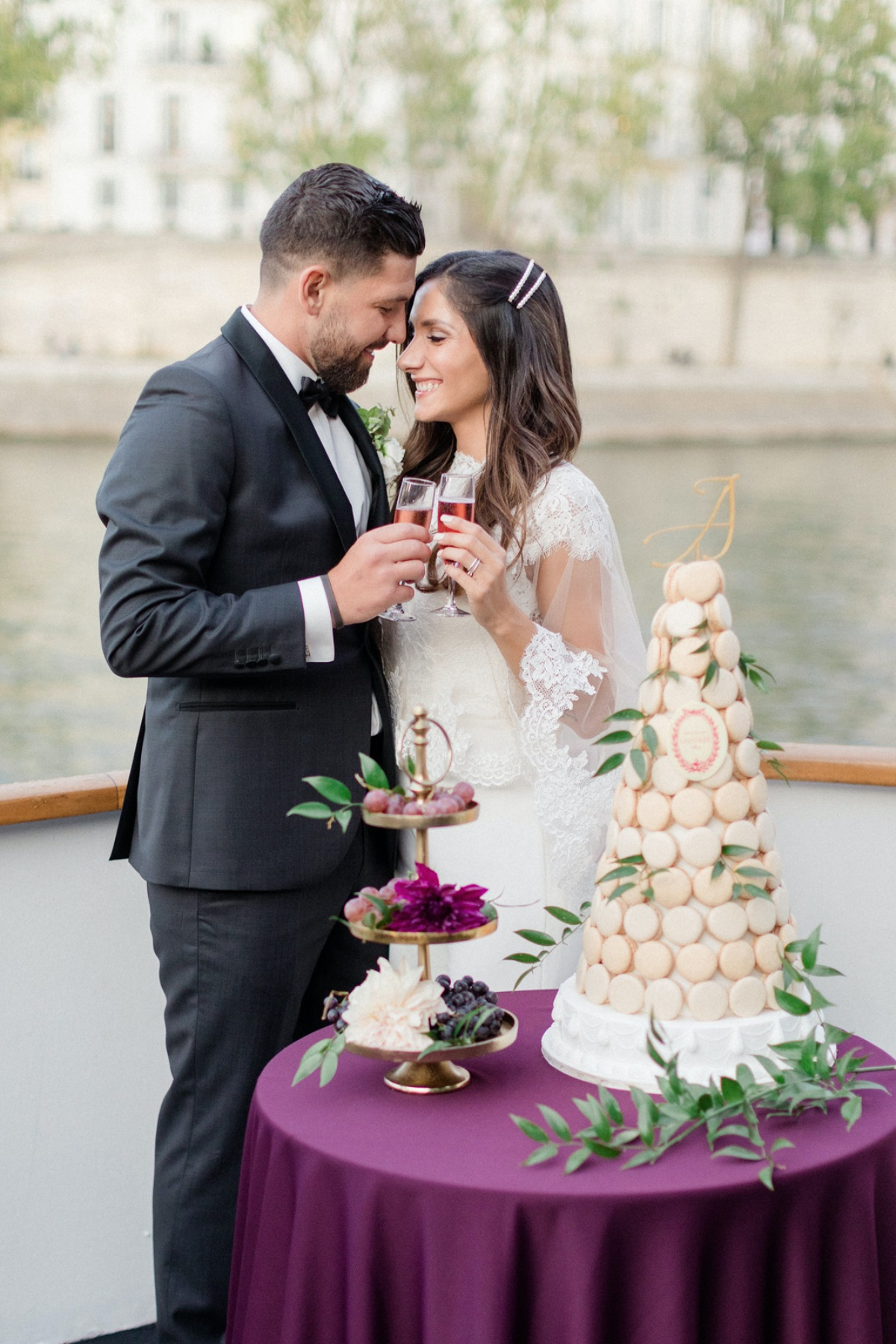 Romantic Wedding in Paris Crossing the River Seine