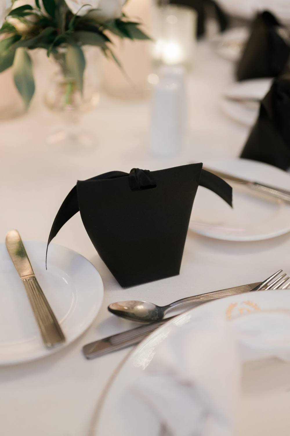 black and white table decor set ups