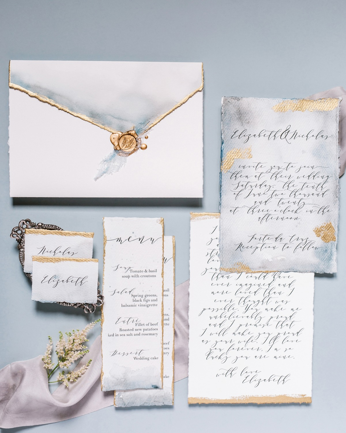 gold ornate wedding invitations designed by A Pajarita