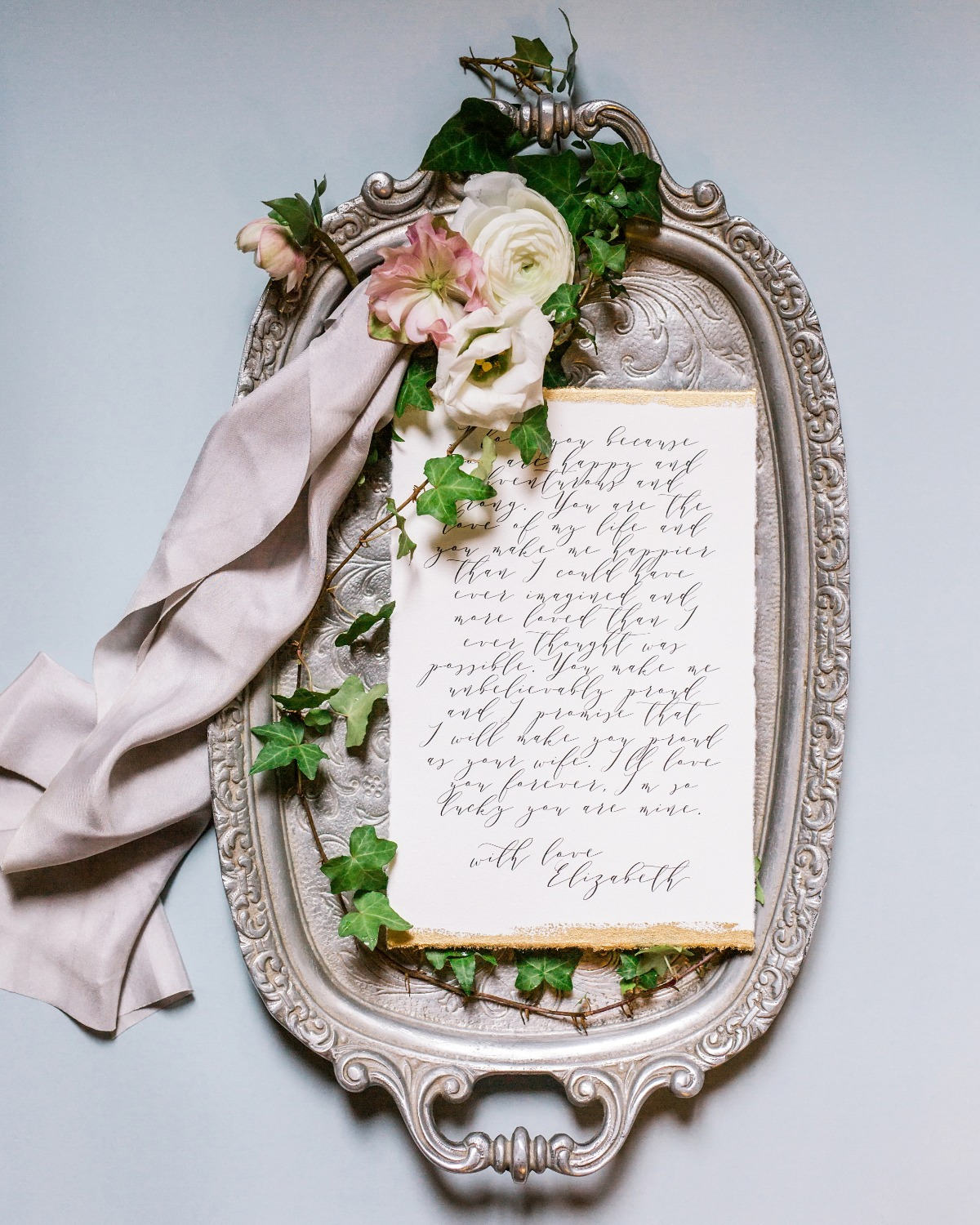 flat lay wedding letter