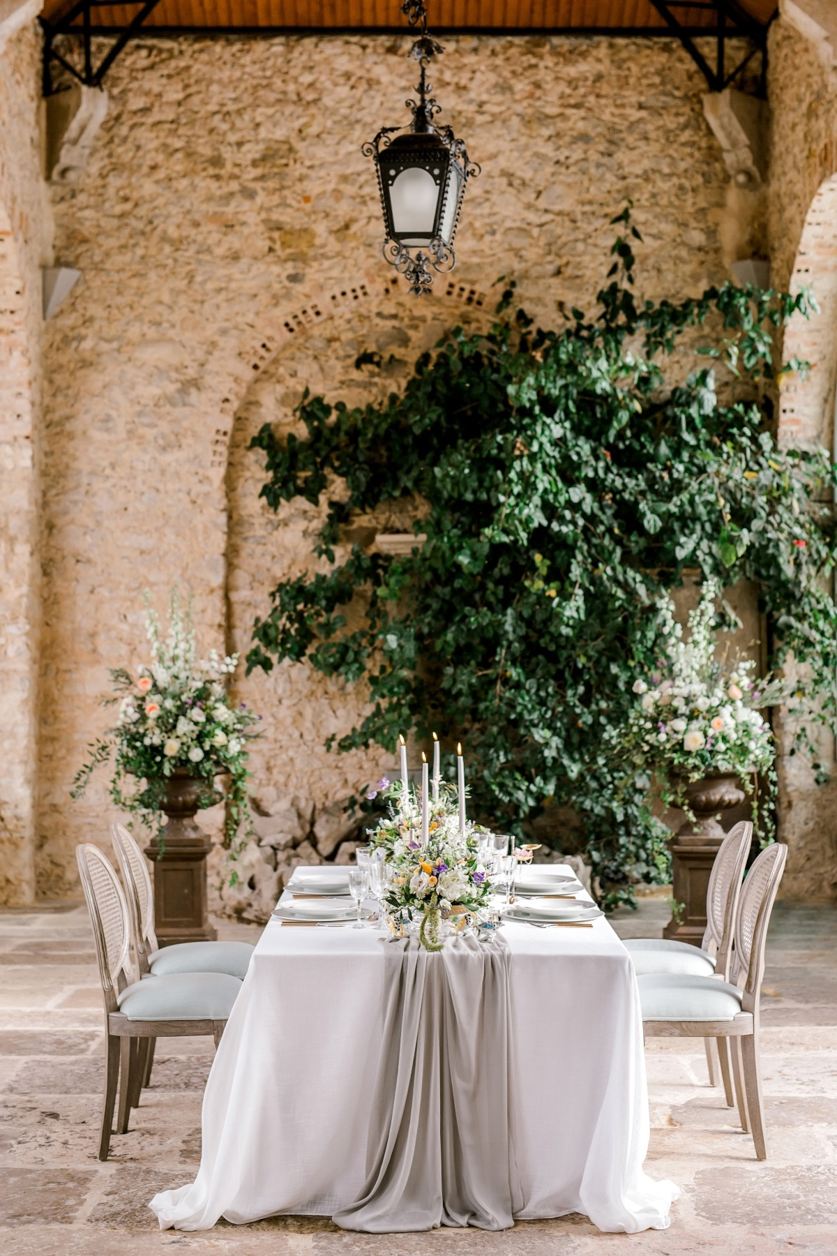 posh wedding reception at castle in Portugal